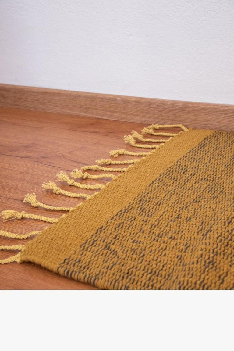 Mexican Wool Yellow Small Rug Handmade Oaxaca Hand Dyed