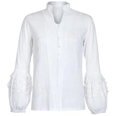 Mexicana 1970s White Cotton Pin-Tuck Blouse with Lace Bubble Sleeves