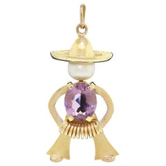 Mexican 14K Gold Amethyst Pearl Mariachi Pendant Sombrero Norteno Large Charm