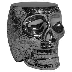 Mexico, Black Titanium Metallic Skull Stool / Side Table by Studio Job