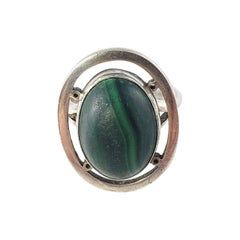 Mexico Carmen Beckmann Sterling Silver Malachite Ring