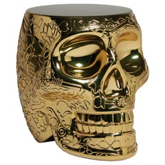 Mexico, Gold Metallic Skull Stool / Side Table by Studio Job