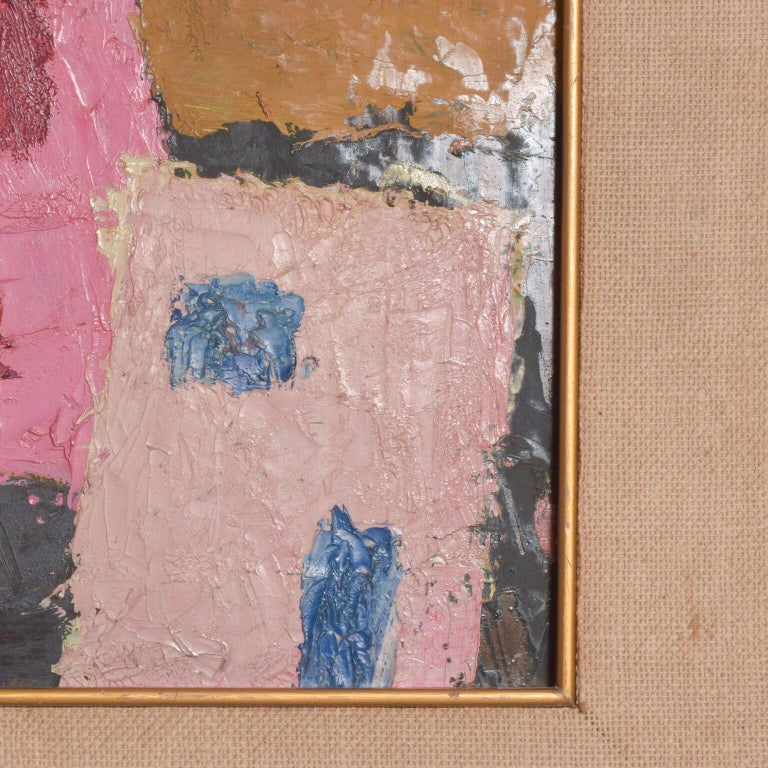 Expressionist Mexico Modernism in Pink Abstract Art Oil on Canvas Coronel Style For Sale