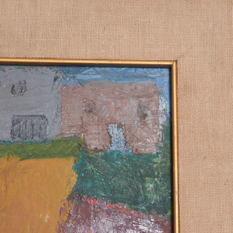 Mexican Mexico Modernism in Pink Abstract Art Oil on Canvas Coronel Style For Sale
