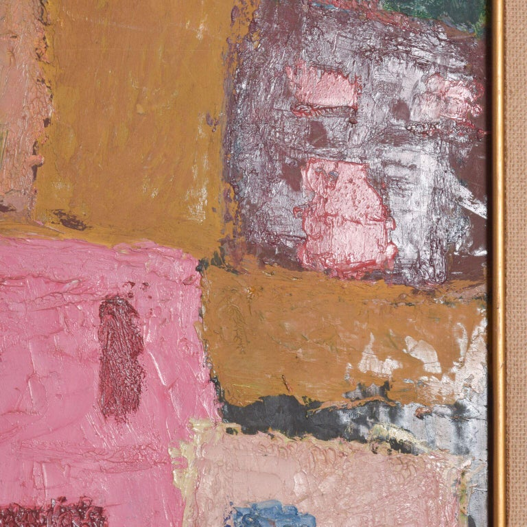 Mexico Modernism in Pink Abstract Art Oil on Canvas Coronel Style In Good Condition For Sale In National City, CA