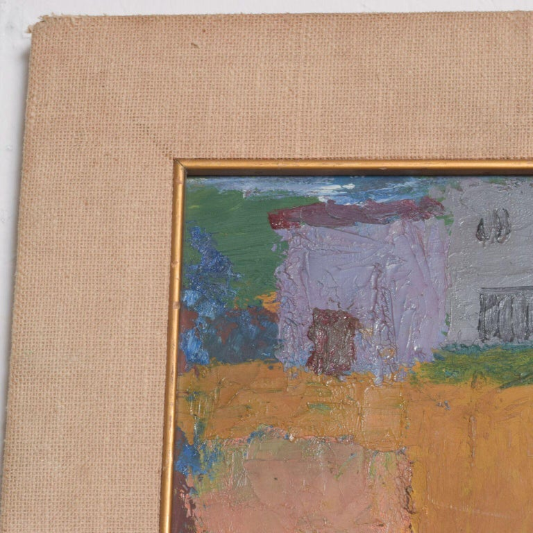 Late 20th Century Mexico Modernism in Pink Abstract Art Oil on Canvas Coronel Style For Sale