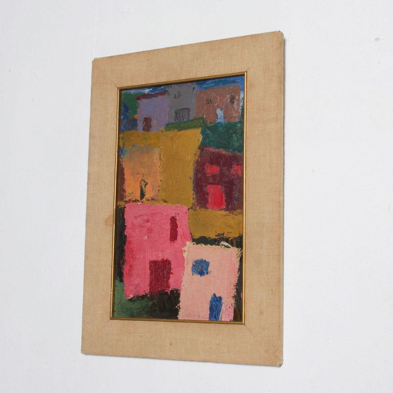 Other Mexico Modernism in Pink Abstract Art Oil on Canvas Coronel Style For Sale