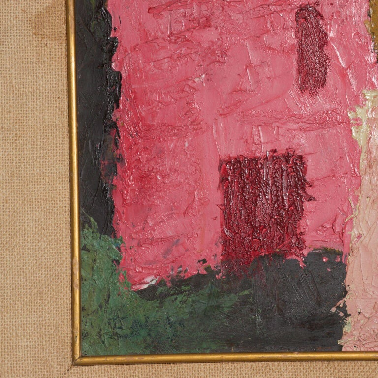 Mexico Modernism in Pink Abstract Art Oil on Canvas Coronel Style For Sale 1