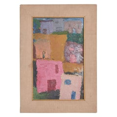 Mexico Modernism in Pink Abstract Art Oil on Canvas Coronel Style
