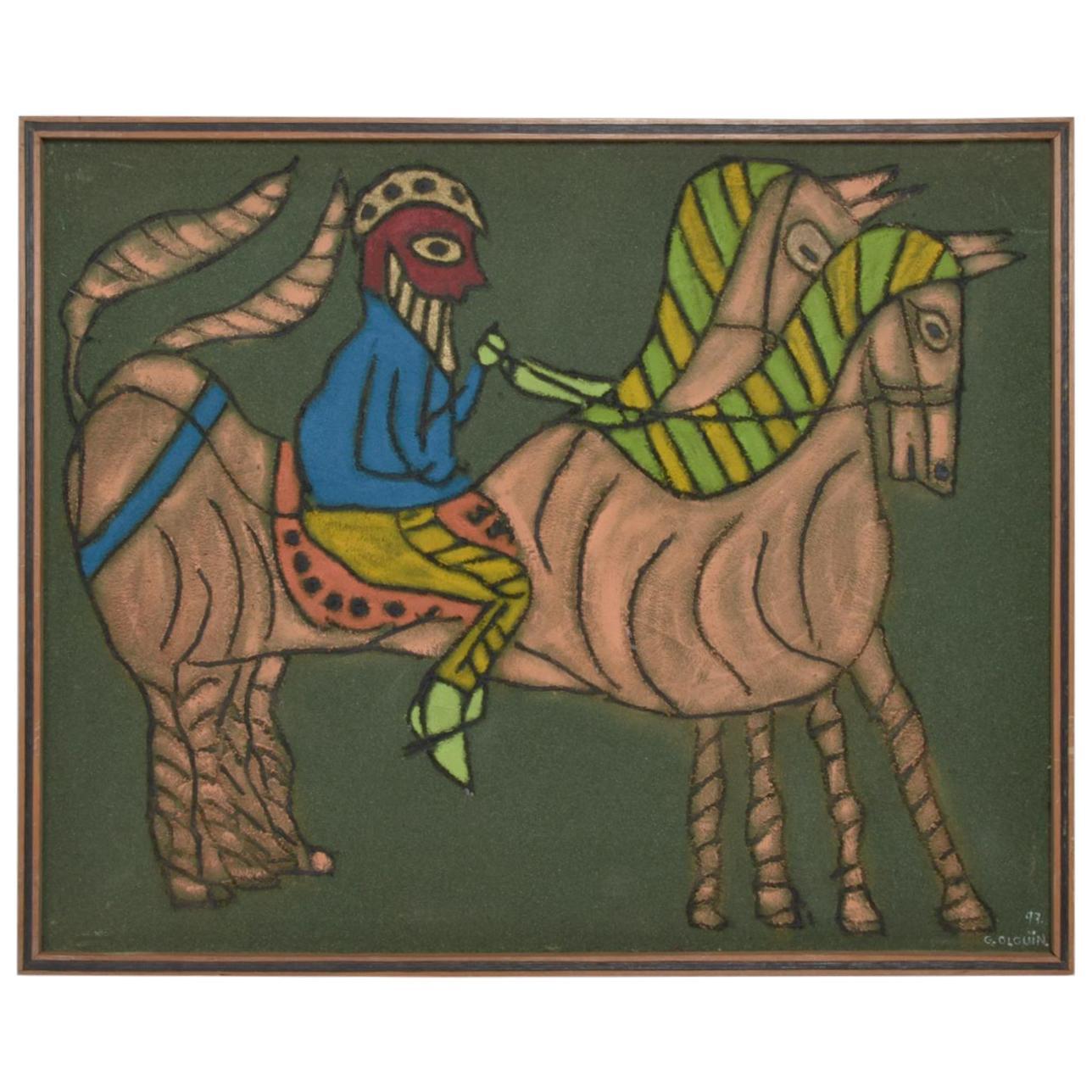 Mexico Oaxaca Artist Guillermo Olguin, Mixed-Media Modern Horses Wall Art