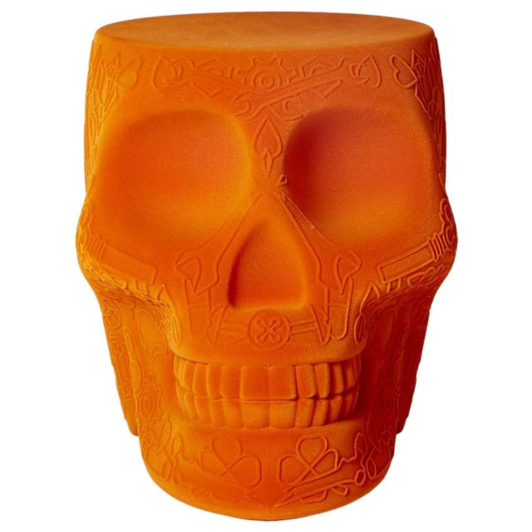 Mexico Orange Velvet Skull Stool or Side Table, Designed by Studio Job