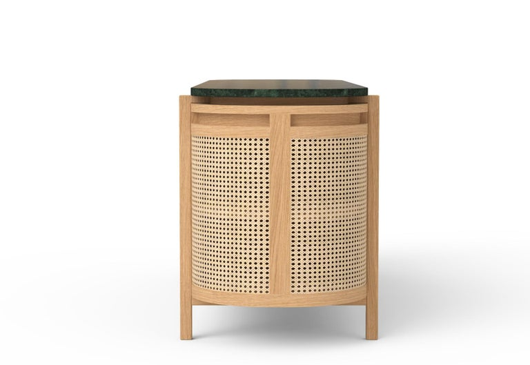Modern Mexico Sideboard, Wicker and white Oak with Marble, Contemporary Mexican Design For Sale