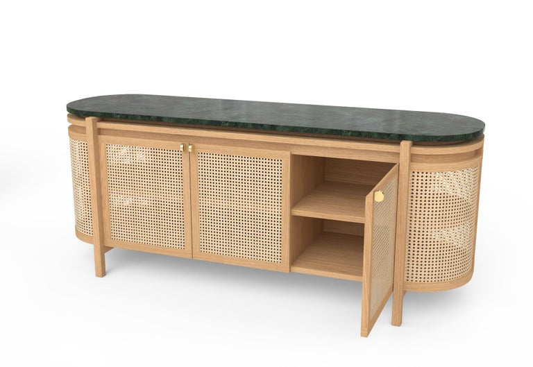 Woodwork Mexico Sideboard, Wicker and white Oak with Marble, Contemporary Mexican Design For Sale