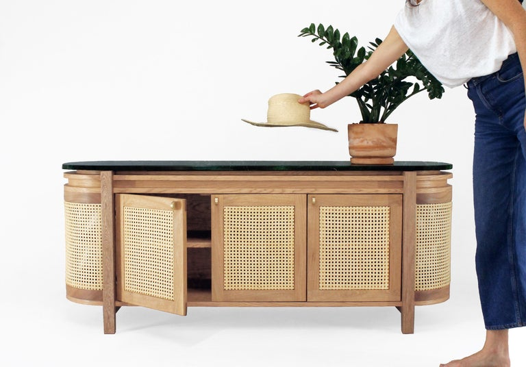 Brushed Mexico Sideboard, Wicker and white Oak with Marble, Contemporary Mexican Design For Sale