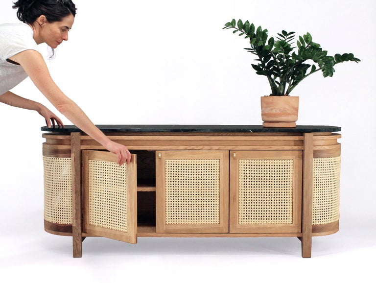 Mexico Sideboard, Wicker and white Oak with Marble, Contemporary Mexican Design In New Condition For Sale In Mexico City, MX