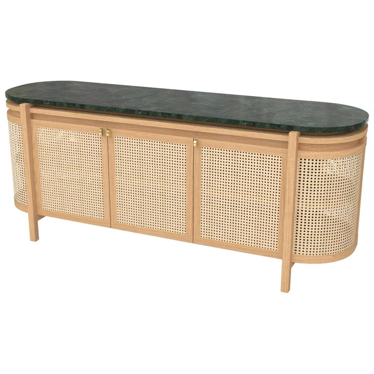 Mexico Sideboard, Wicker and white Oak with Marble, Contemporary Mexican Design For Sale