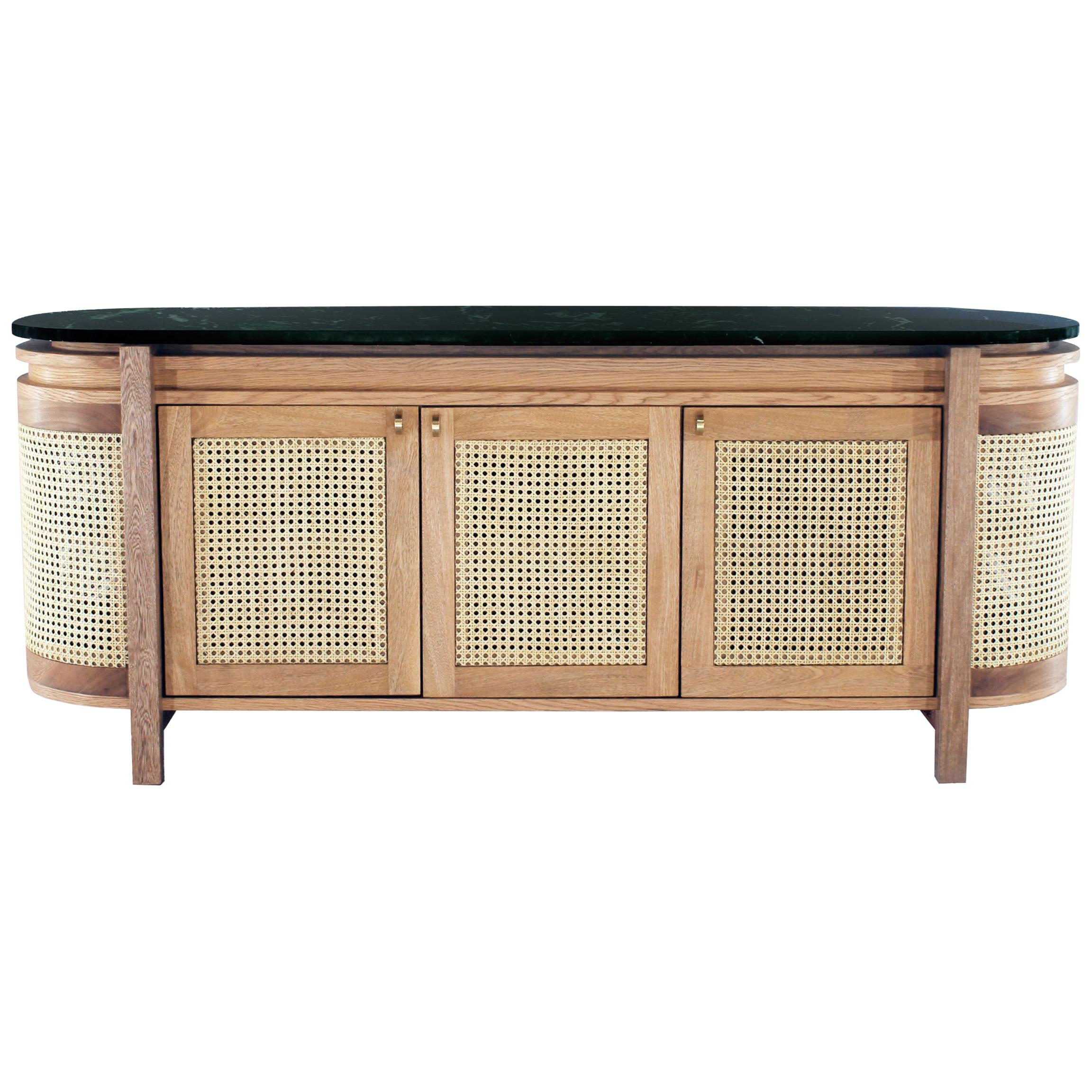 Mexico Sideboard, Wicker and white Oak with Marble, Contemporary Mexican Design