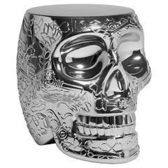 Mexico, Silver Metallic Skull Stool / Side Table by Studio Job