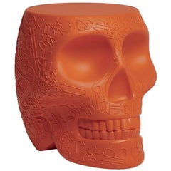 Mexico, Skull Terracotta Orange Stool / Side Table by Studio Job