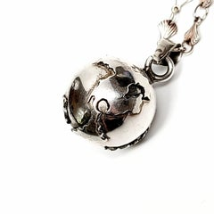Mexico Sterling Silver Harmony Angel Caller World Pendant Necklace