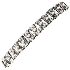 Mexico Sterling Silver Panel Link Center Bead Bracelet