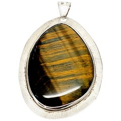 Mexico Sterling Silver Tiger's Eye Pendant Signed LMH