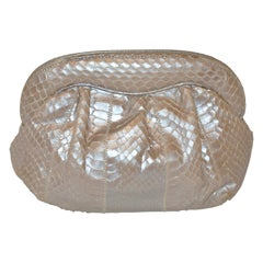 Meyer Wonderfully Elegant Pearl Snakeskin Clutch With Optional Shoulder Strap