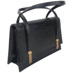 Meyers Black Lizard Embossed Leather Handbag With Chain Tassels, C.1960