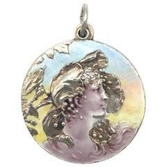 Meyle & Mayer Art Nouveau Fairy Girl Poppy Flower Locket Pendant Silver Enamel