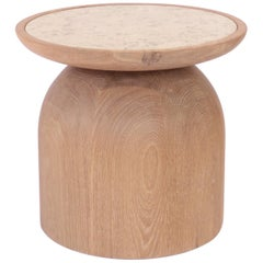 Mezcalito Gordo, Contemporary White Oak Limestone Side Table by SinCa Design