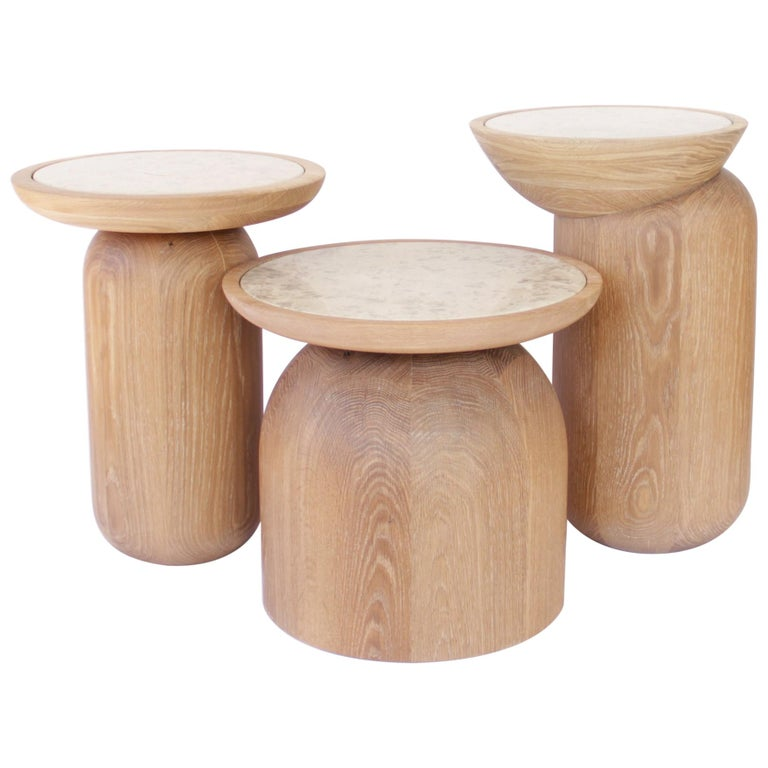 Mezcalitos Set, Contemporary White Oak Limestone Side Table by SinCa Design For Sale
