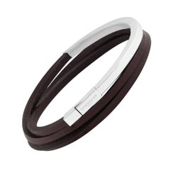 Tateossian Brown Mezzo Silver Bracelet (Medium)