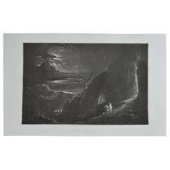Mezzotint by John Martin, Adam and Eve Driven Out of Paradise, Washbourne, 1853