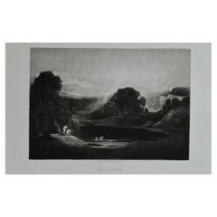 Mezzotint by John Martin, Adam and Eve-The Morning Hymn, Washbourne, 1853
