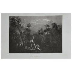 Mezzotint by John Martin, Adam Reproving Eve, Washbourne, 1853