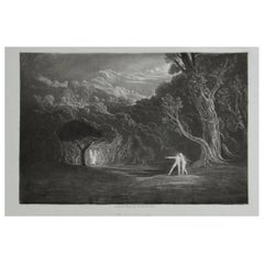 Mezzotint by John Martin, Approach of the Angel Raphael, Washbourne, 1853