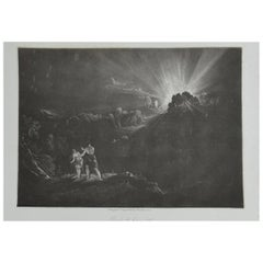 Mezzotint by John Martin, Approach of the Arch-Angel, Michael, Washbourne, 1853