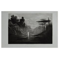 Mezzotint by John Martin, Eve at the Fountain, Washbourne, 1853