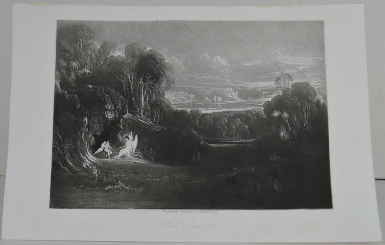 Sensational image by John Martin.  Titled: Raphael Conversing with Adam and Eve  Drawn and engraved by John Martin. From the highly regarded Washbourne Publication of Milton's Paradise Lost, 1853.  Unframed.