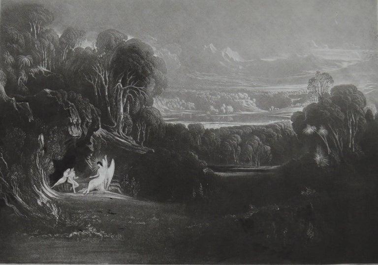 Romantic Mezzotint by John Martin, Raphael Conversing with Adam and Eve, Washbourne, 1853