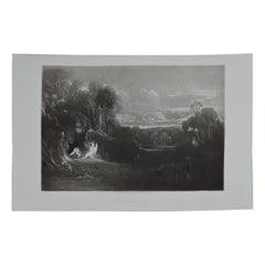 Mezzotint by John Martin, Raphael Conversing with Adam and Eve, Washbourne, 1853