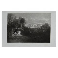 Mezzotint by John Martin, Raphael Conversing with Adam and Eve, Washbourne, 1853