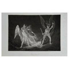 Mezzotint by John Martin, Satan Aroused, Washbourne, 1853