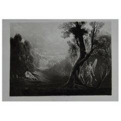 Mezzotint by John Martin, Satan Contemplating Adam and Eve, Washbourne, 1853