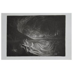 Mezzotint by John Martin, Satan on the Burning Lake, Washbourne, 1853