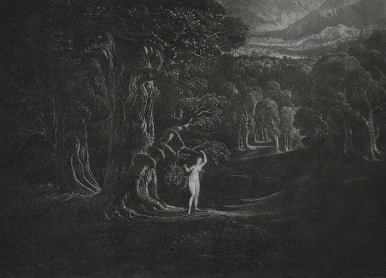 Romantic Mezzotint by John Martin, Satan Tempting Eve, Washbourne, 1853