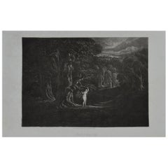 Mezzotint by John Martin, Satan Tempting Eve, Washbourne, 1853