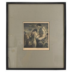Mezzotint Two Nudes on the Seashore by Alessandro, Mastro Valerio