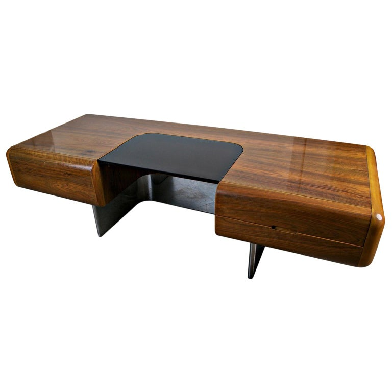 """M.F. Harty for Stow Davis """"Tomorrow"""" Floating Pedestal Executive Desk, Signed For Sale"""