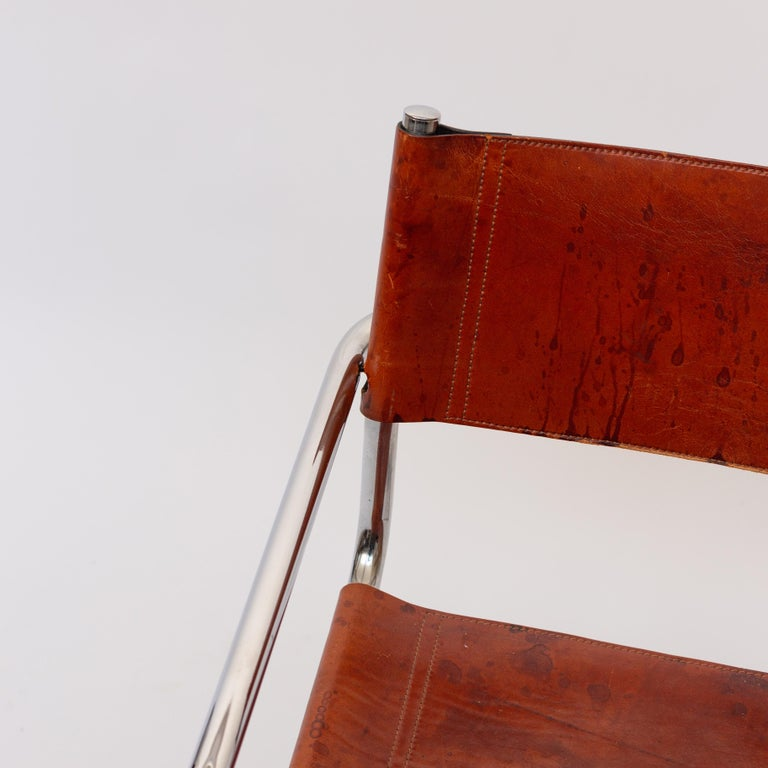 MG5 Cognac Leather Chair by Marcel Breuer for Gavina For Sale 4